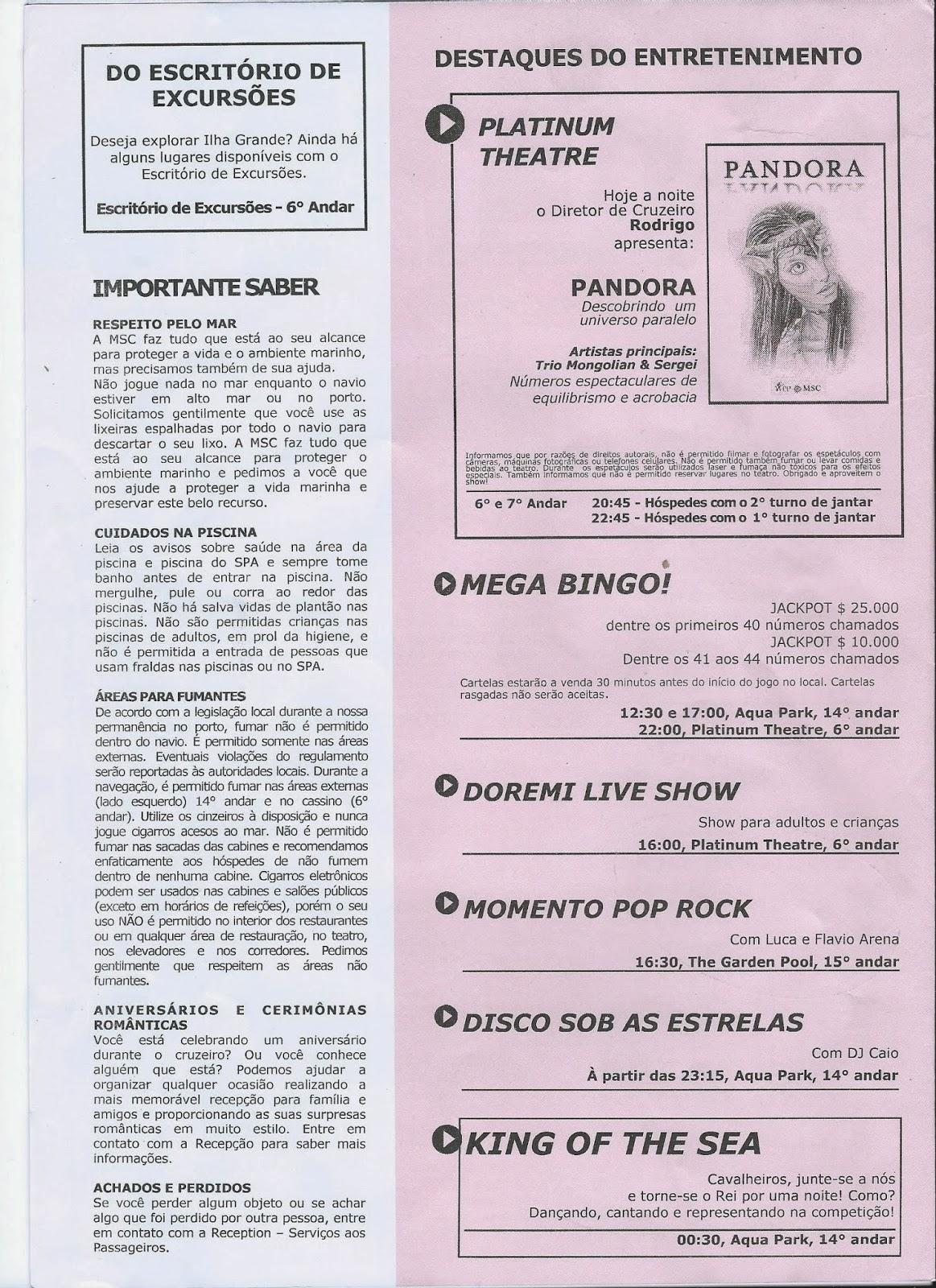 Diário de Bordo do MSC Preziosa - página 2