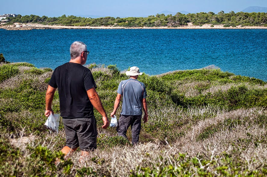 Científicos del Grupo de Ecología de Poblaciones capturando lagartijas