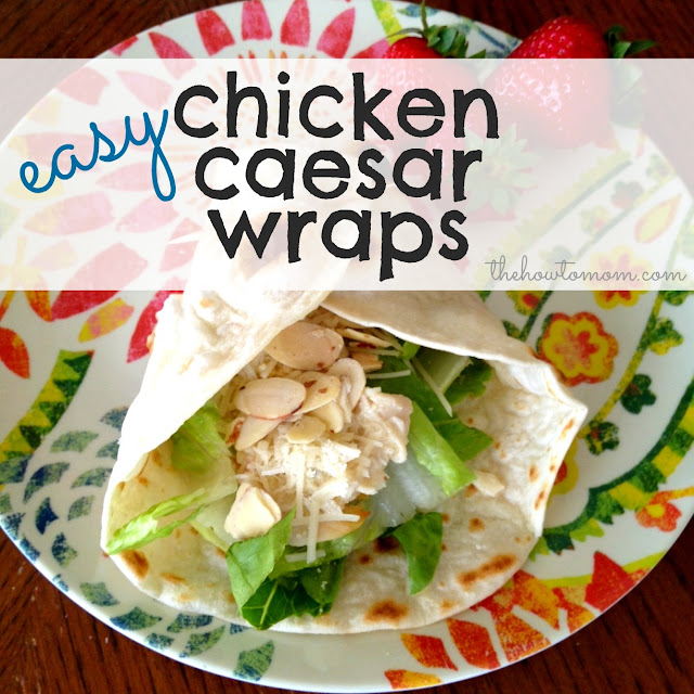 The How To Mom: easy chicken caesar wraps (crock-pot!)