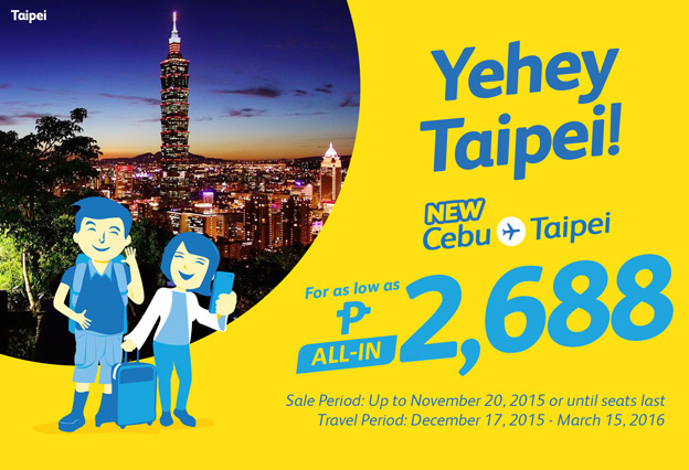 Cebu Pacific Promo Cebu to Taipei 2016