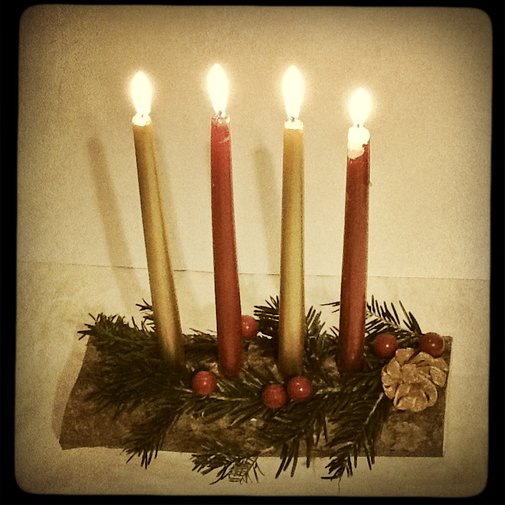 Home made advent or yule log decoration mezzamay for 7 candle christmas decoration