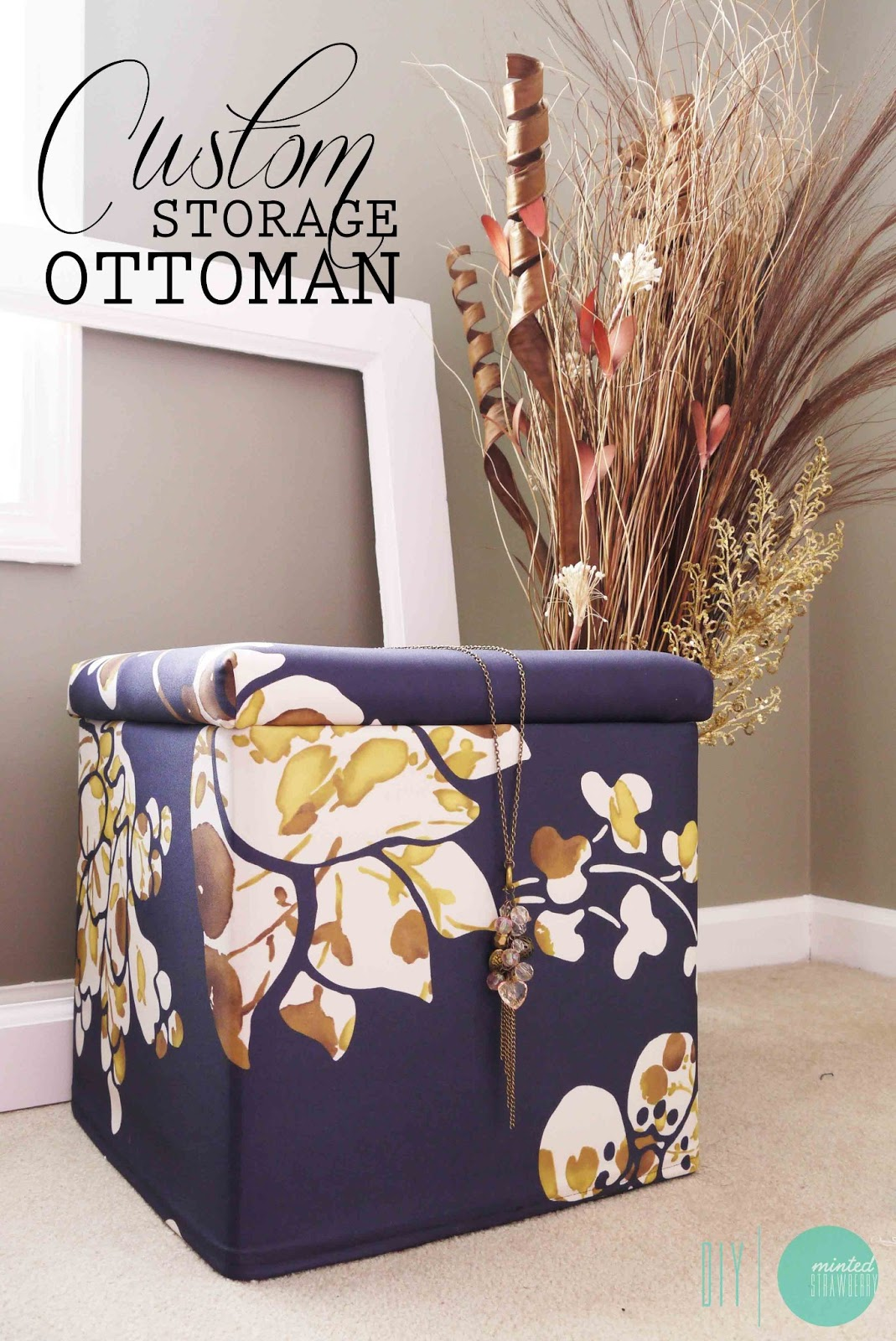diy custom storage ottomans minted strawberry