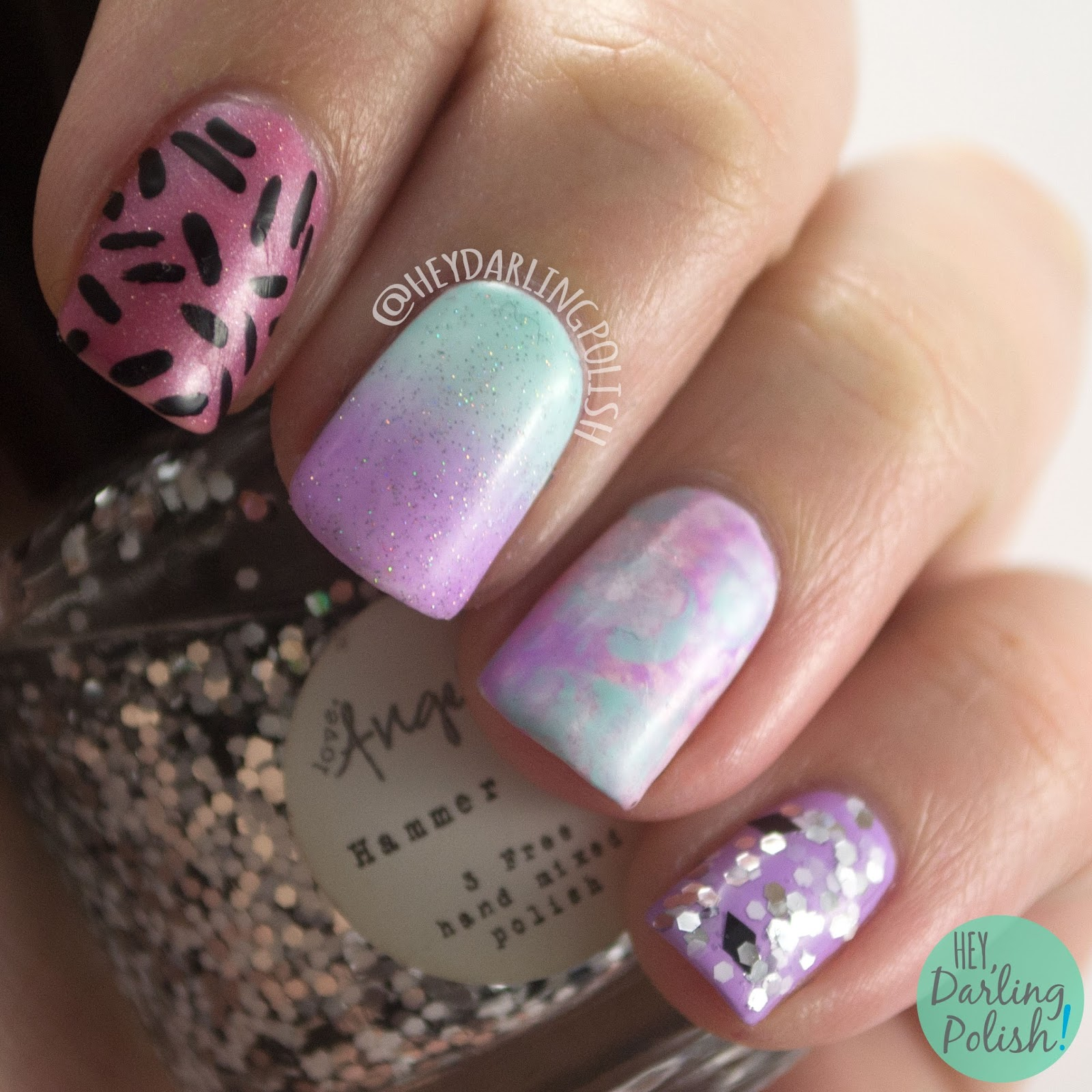 nails, nail art, nail polish, indie polish, pink, blue, purple, gradient, pattern, glitter, skittles, hey darling polish, lacquer legion, llreflection