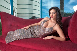 Hot Sunny Leone on Red Couch - Sunny Leone Unseen Photo