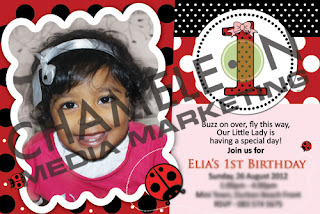 Lady Bug Themed Birthday Invitation with Child Photo