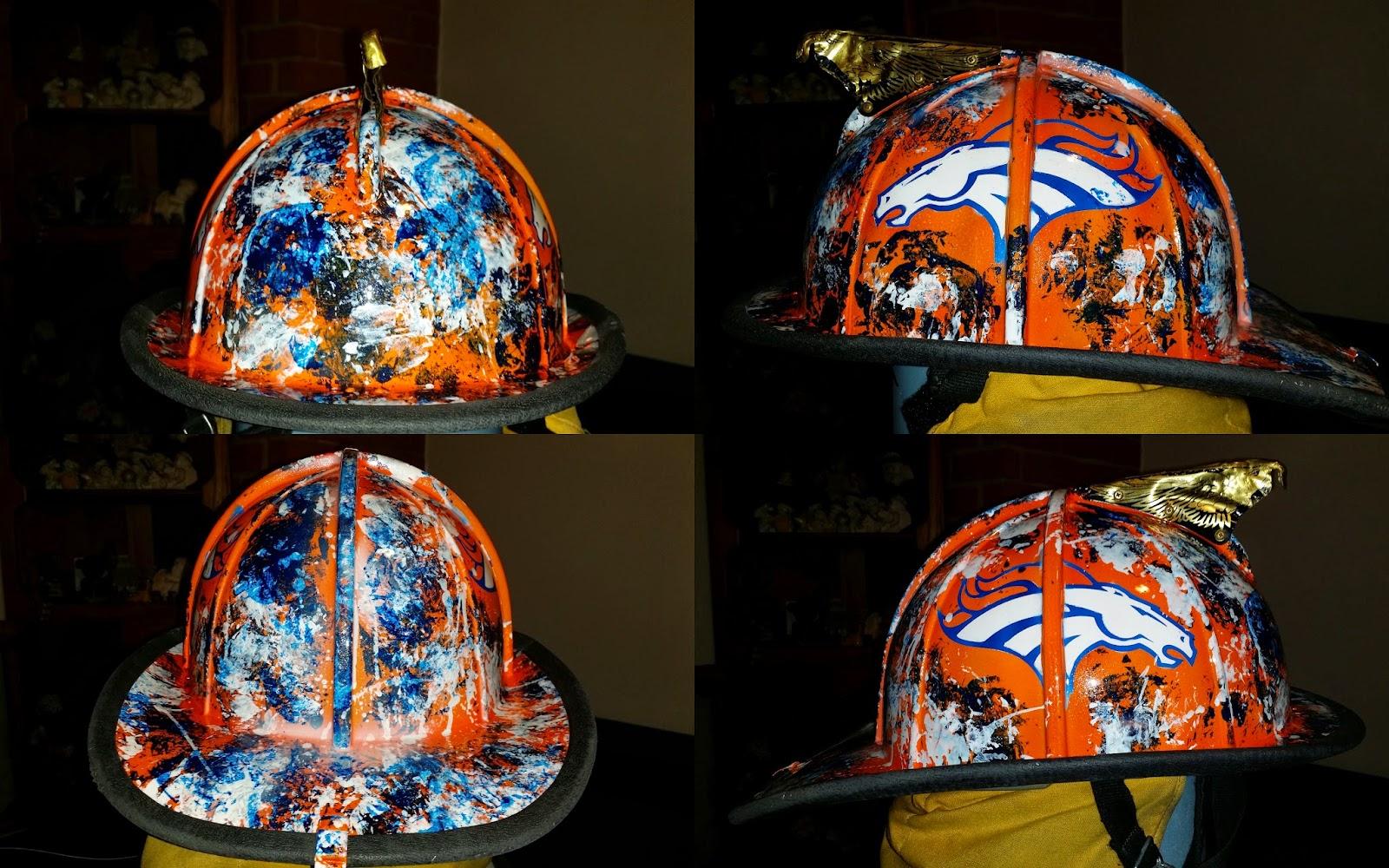 Denver Broncos fire helmet