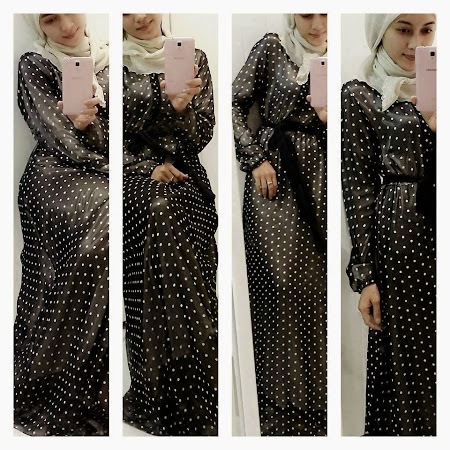 Ready Stock. Dress Chiffon Polkadot. Latest Collection Lebih Elegant