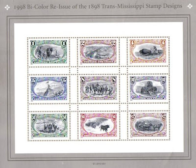 1998 TRANS MISSISSIPPI COLOR REISSUE #3209 Souvenir Sheet of 9 US Postage Stamps