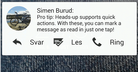 Heads-up notifications 搶先用 Android L 互動通知卡片