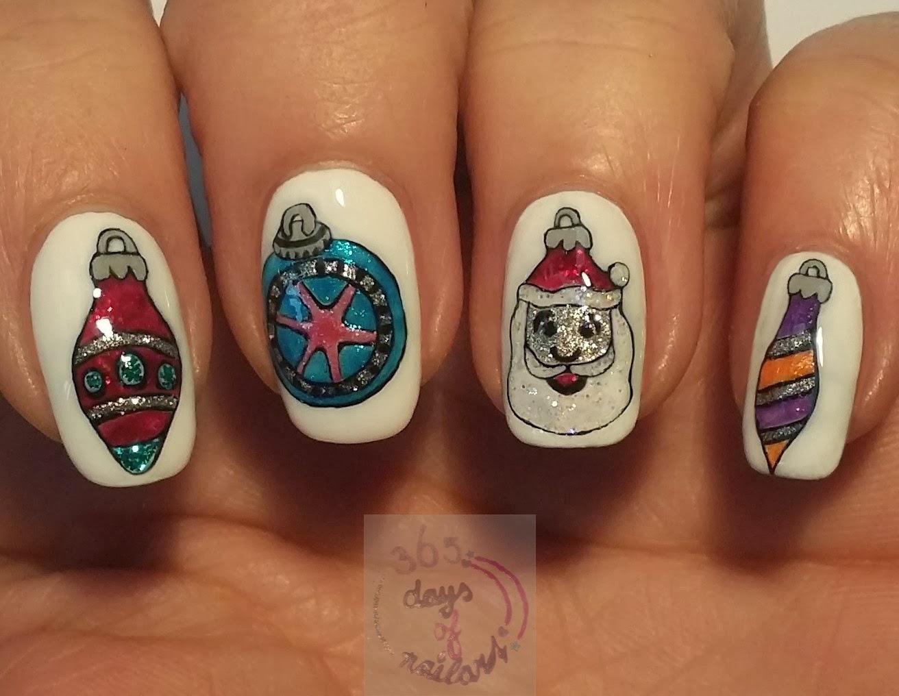 365 Days Of Nail Art Day 342 Nail Art Christmas Ornaments