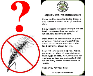 Free Gluten Free Restaurant Cards