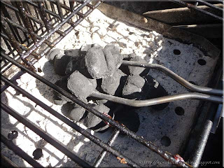 starting the charcoal briquettes