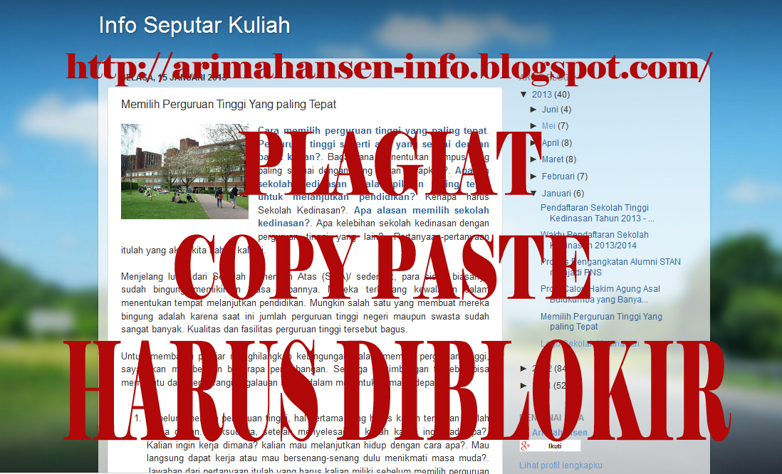 semua postingan hibur dunia di copy paste copy paste dalam dunia blog
