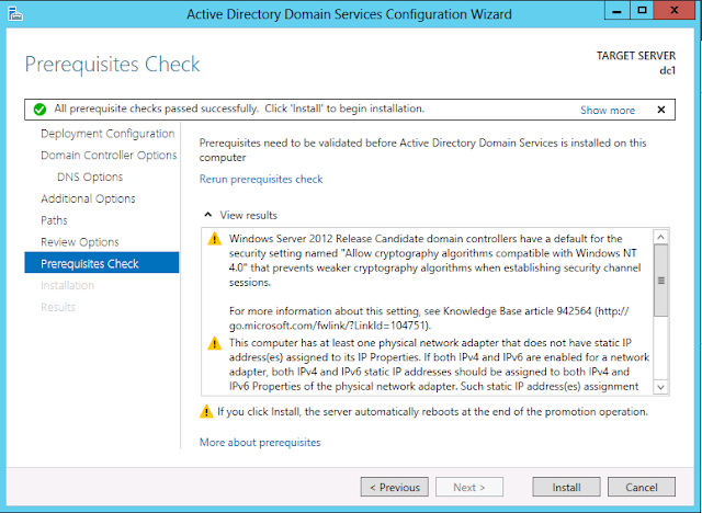Windows Server 2012 active directory prerequisites check