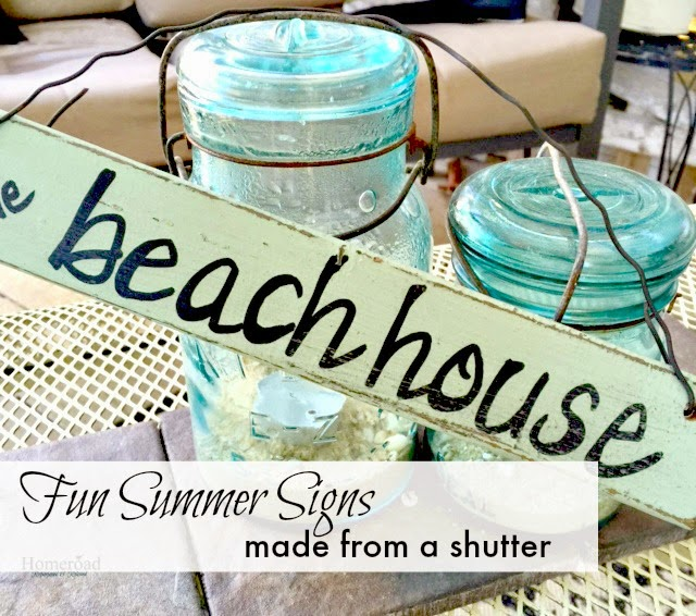 Vintage Summer Signs Made From a Shutter www.homeroad.net