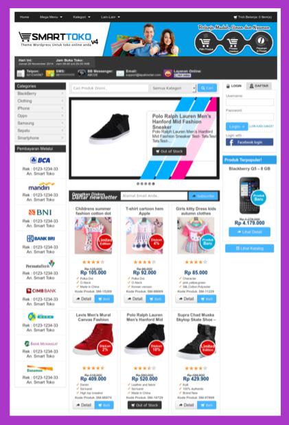 Contoh template toko online