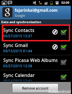 Sync contacts Google android