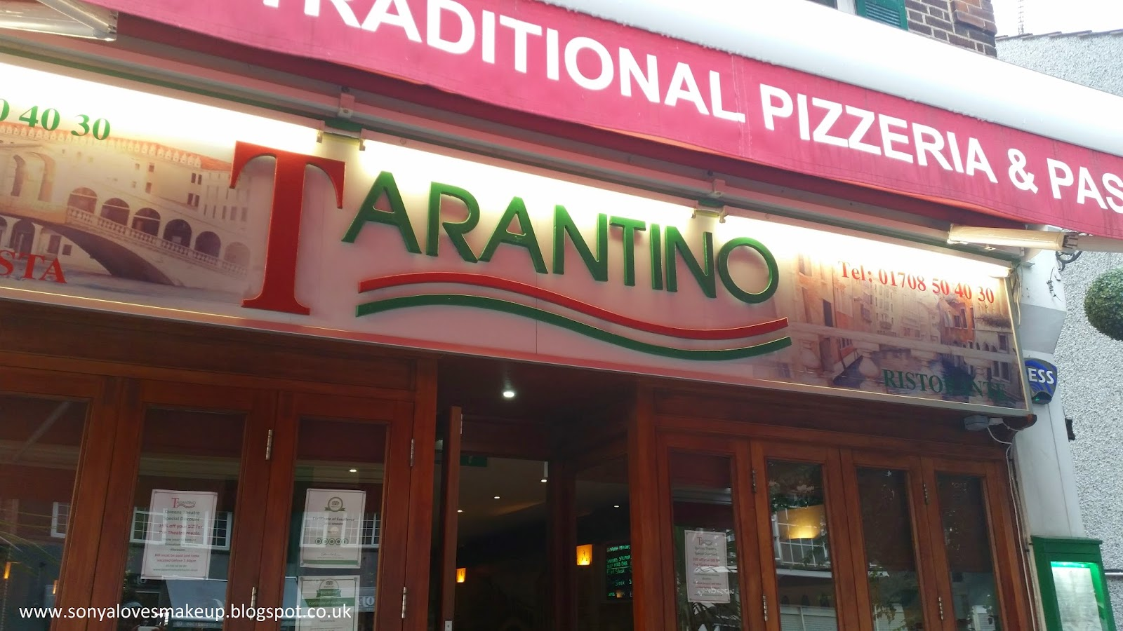 Restaurant review, Tarantino, Italian food, Hornchurch
