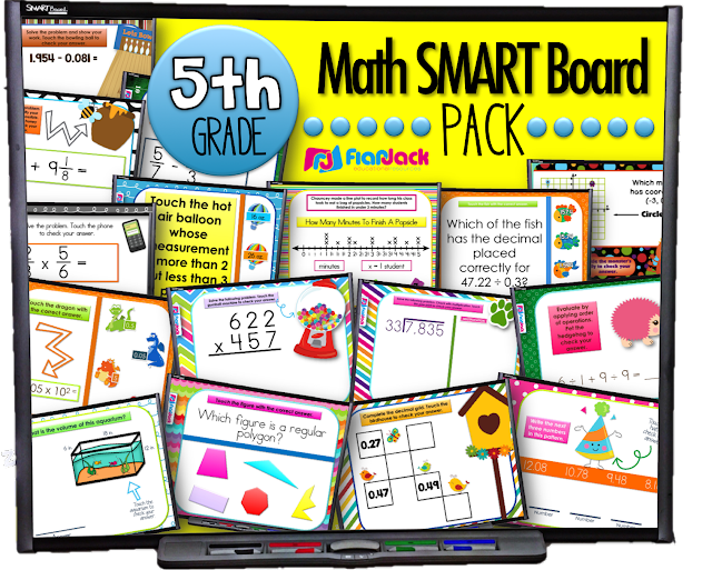 5th Grade Math Smart Board Game Pack