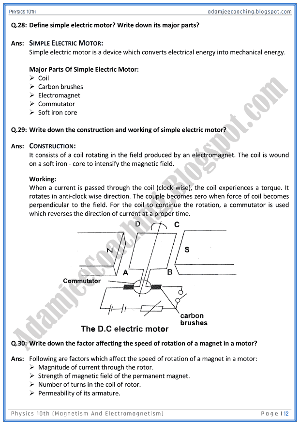 magnetism-and-electromagnetism-question-answers-physics-10th