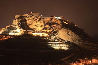 Castle of Santa Bárbara in Alicante lit at night