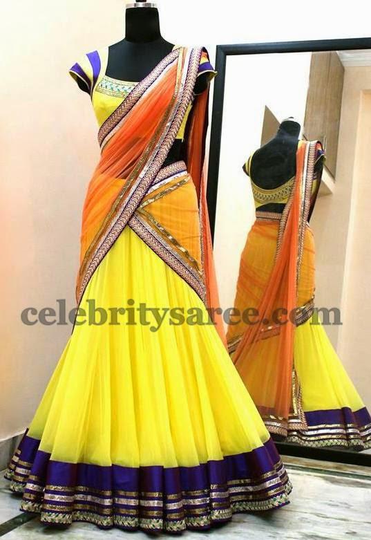 Lemon Yellow Classic Chic Half Saree