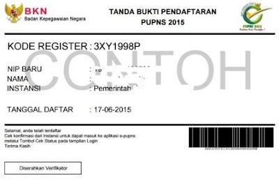 gambar contoh tanda bukti registrasi PUPNS