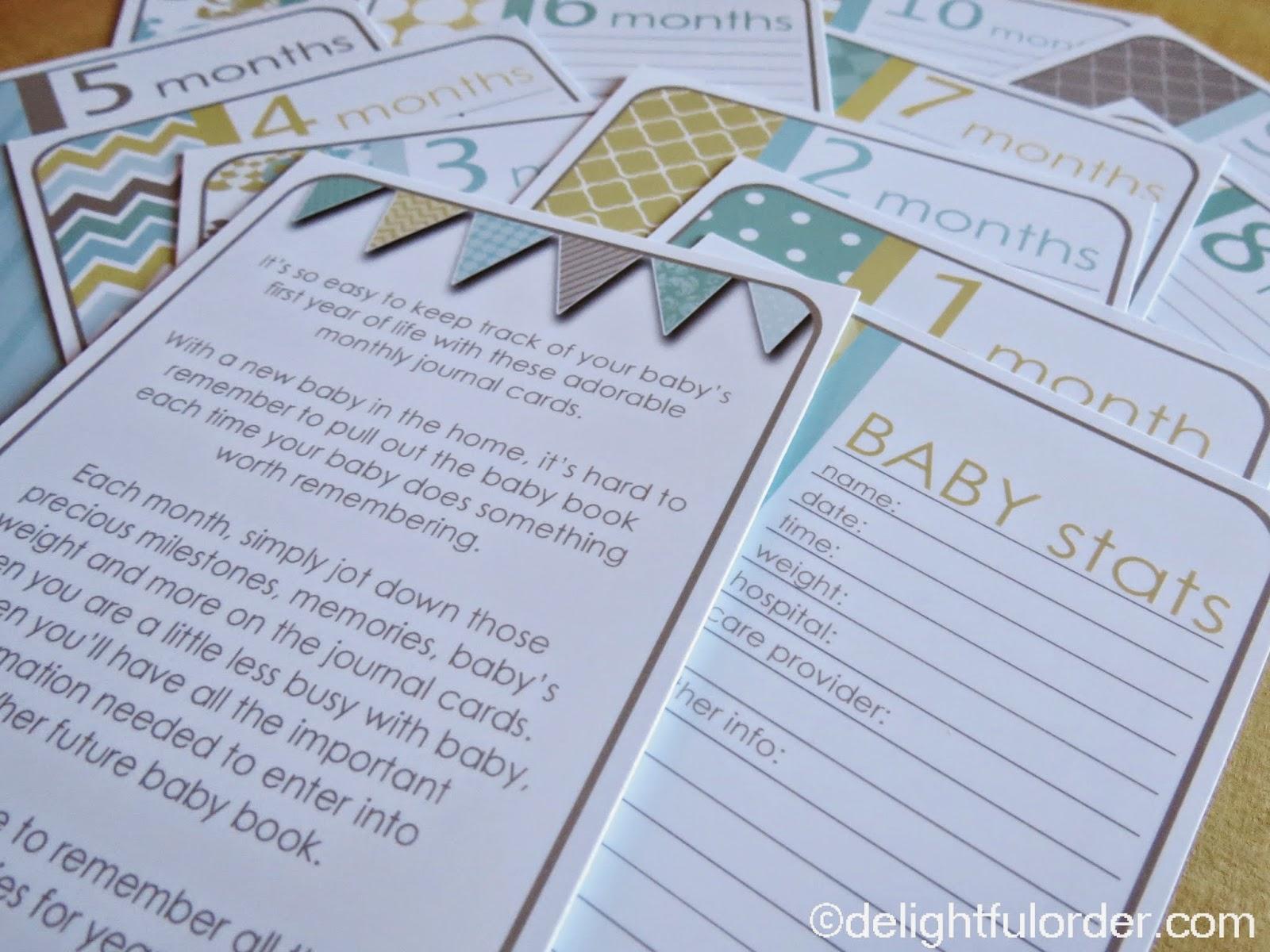 delightful order baby milestone journal cards gift idea