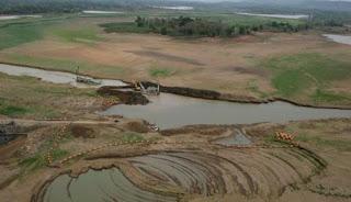 lahan pertanian kekeringan warga terpaksa becocok tanam di waduk air