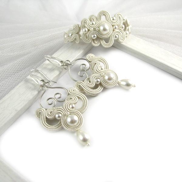 Kolczyki i bransoletka ślubna sutasz z perłami