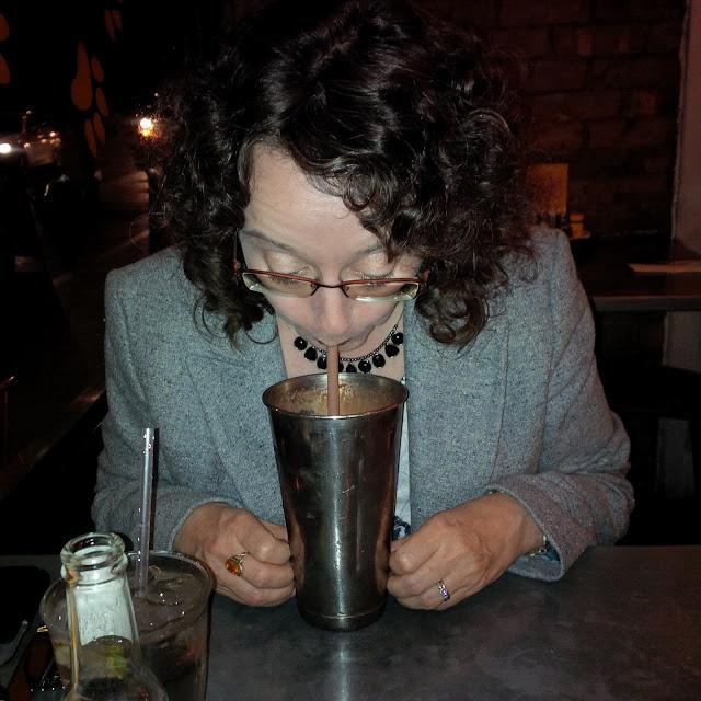 Sipping a Chocolate Milkshake | Petite Silver Vixen