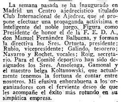 Artículo sobre el Torneo Internacional de Ajedrez del Madrid F.C. 1936 en ABC 3 de junio de 1936
