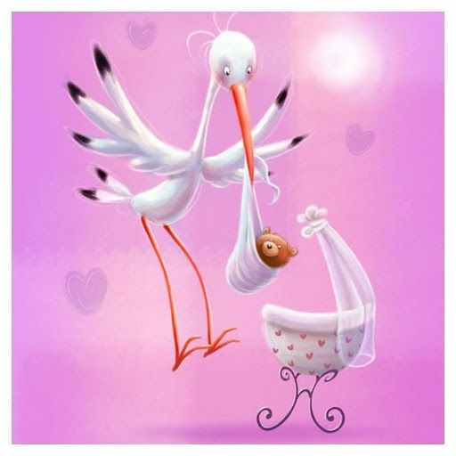 cigüeña con bebe osito en rosa