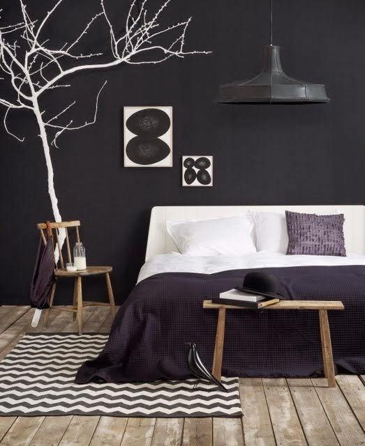Tapis Chambre Bebe Montreal : Mur noir Chambre à coucher Studio Joyz via Nat et nature