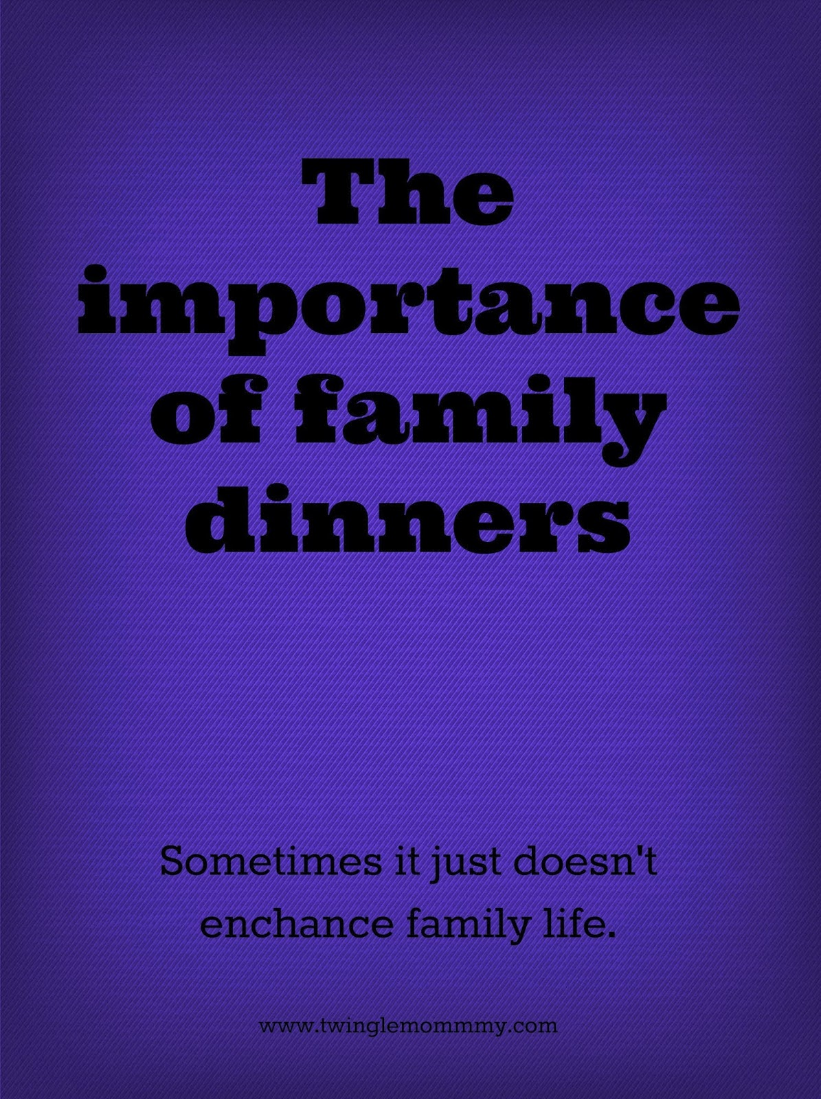 the importance of family dinners The importance of family meals back to blog tip: share at least three family meals a week to foster better nutrition, greater academic success and good mental health in your children.