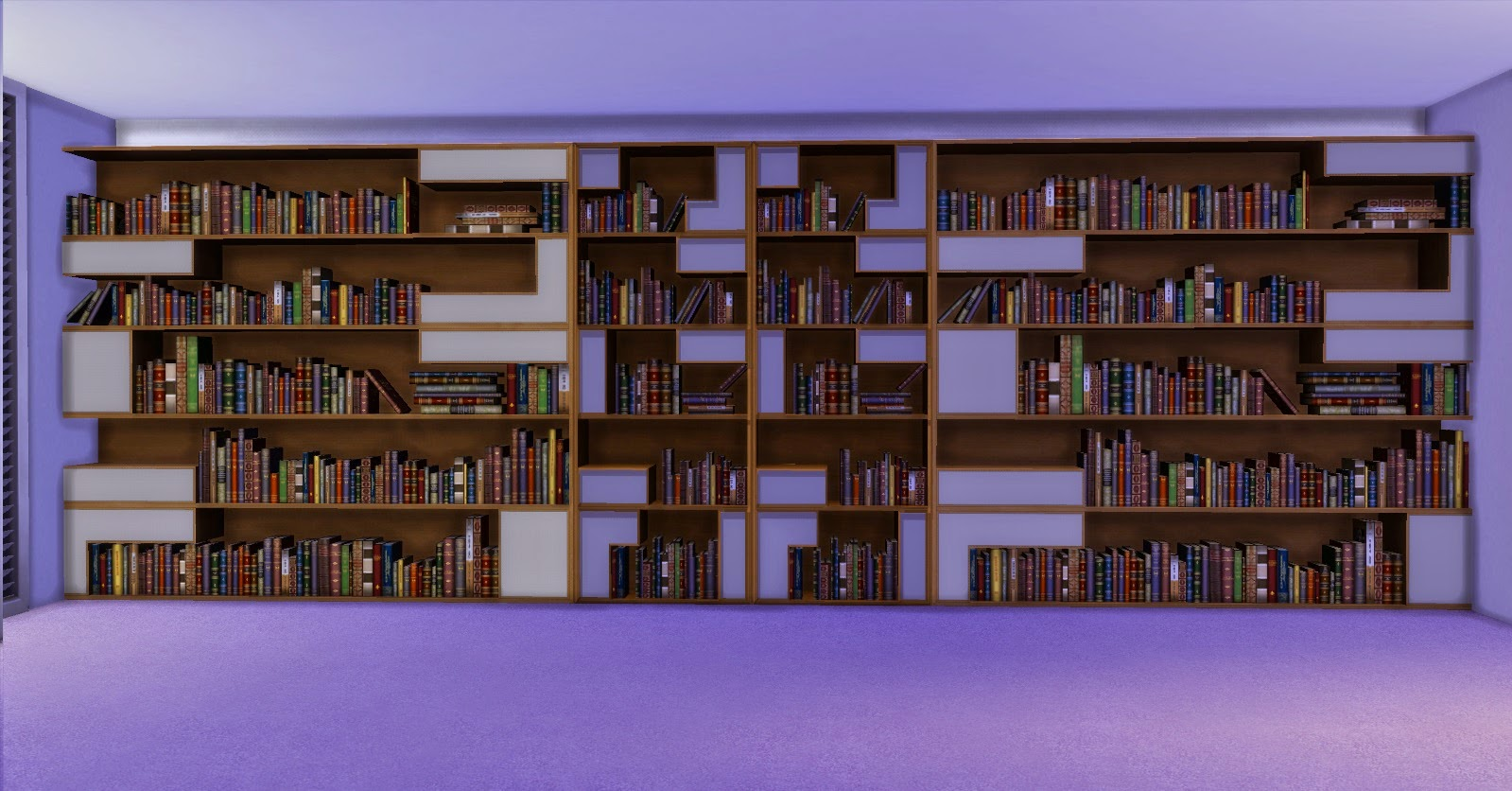Very Impressive portraiture of My Sims 4 Blog: Poetic Bookshelf by AdonisPluto with #52408B color and 1599x836 pixels