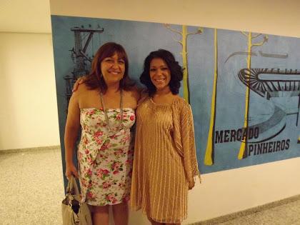 """Ciça Marinho e Raquel Tavares na estreia da peça""""Sombras"""" no Sesc de São Paulo."""