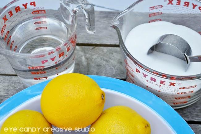 ingredients for classic lemonade, sugar, water, simple syrup, lemons