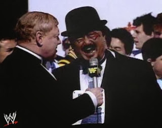 WWF / WWE: Wrestlemania 5 - Mr. Fuji is interviewed by Lord Alfred Hayes about his participation in the Demolition vs. Powers of Pain WWF Tag Team Title match