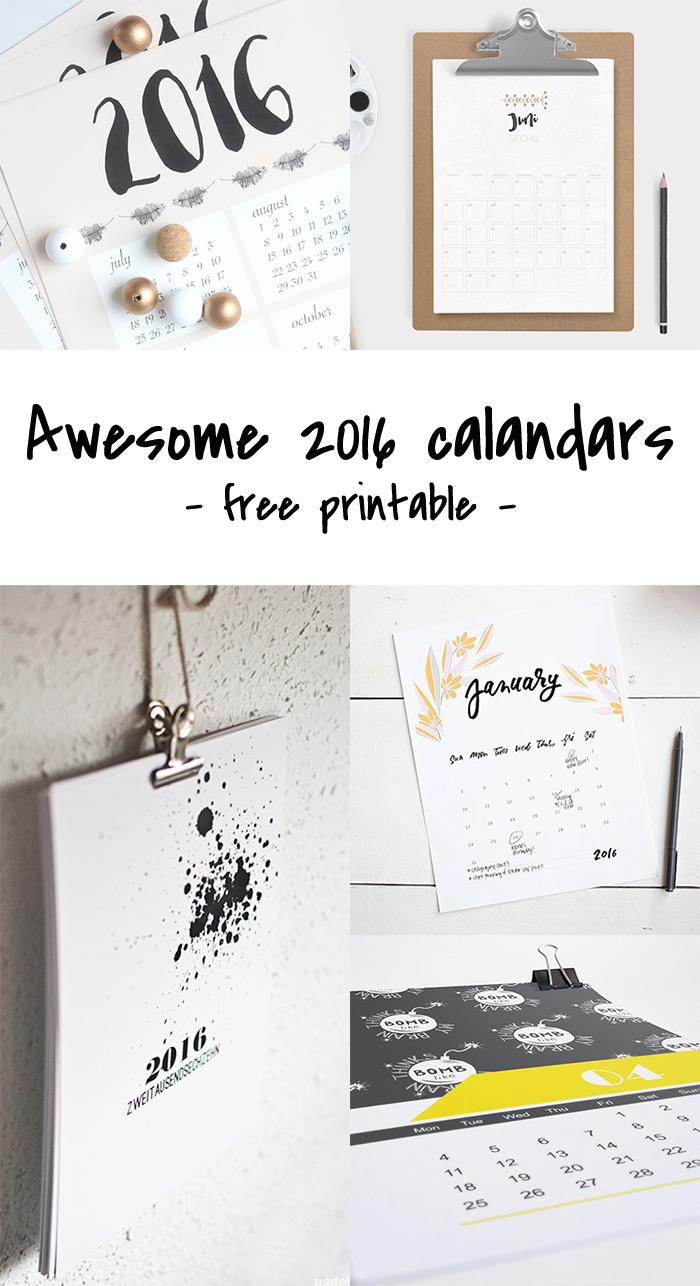 Freebie # 2016 Calendars