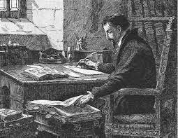 Calvino escrevendo as Institutas e Comentários Bíblicos