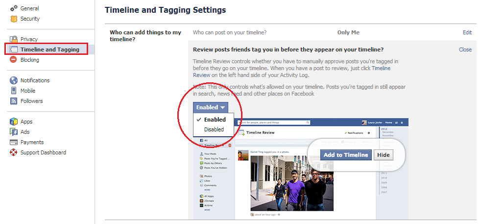 how to add tagged post to timeline