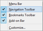 Enabling Mozilla Firefox Bookmarks Toolbar