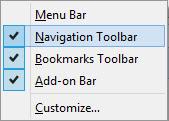 Enabling Mozilla Firefox Bookmarks Toolbar