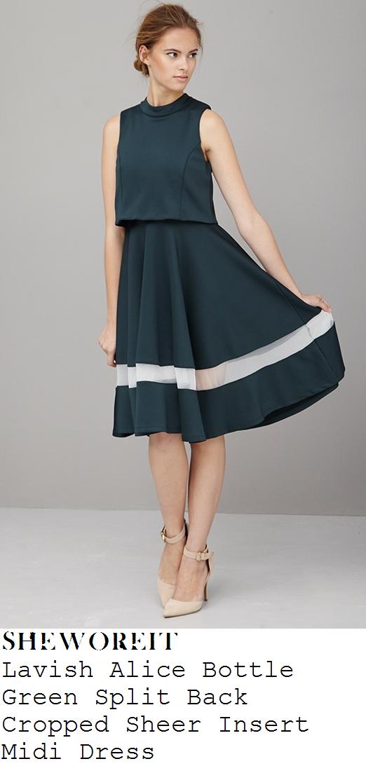 lydia-bright-bottle-green-split-back-sheer-mesh-stripe-full-pleated-midi-dress-somerset-house