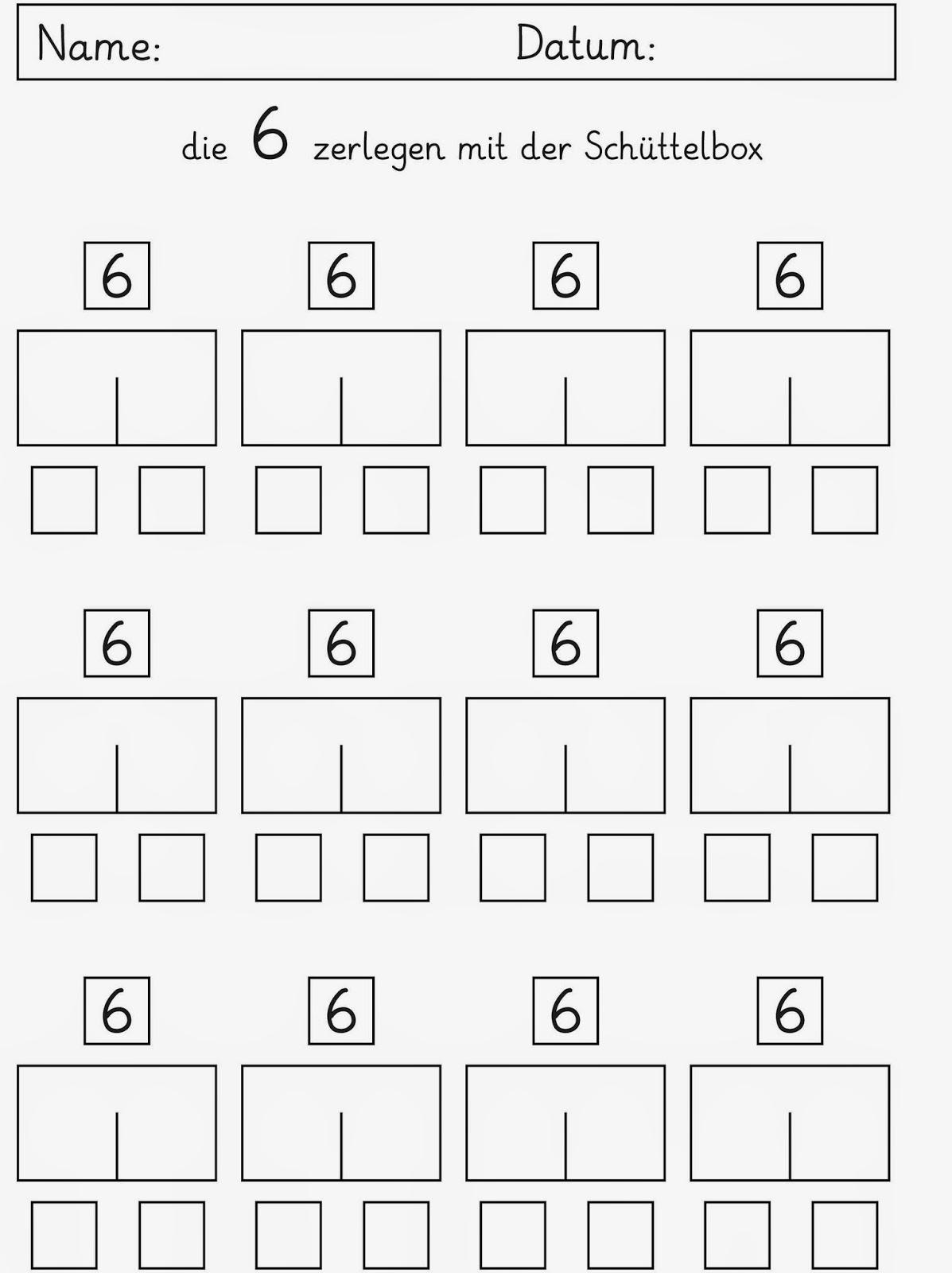 Lernstübchen: Zahlzerlegung der Zahlen 3 bis 6