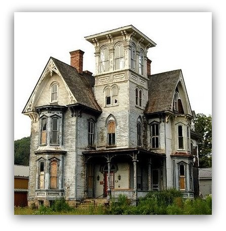 Restorable Carpenter Gothic House In Decay Content In A