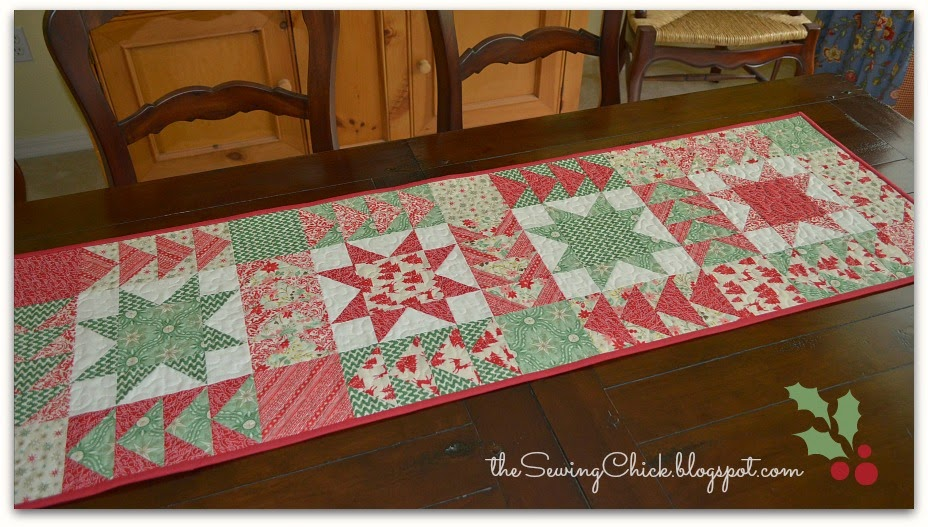 christmas table runner patchwork stars flying geese