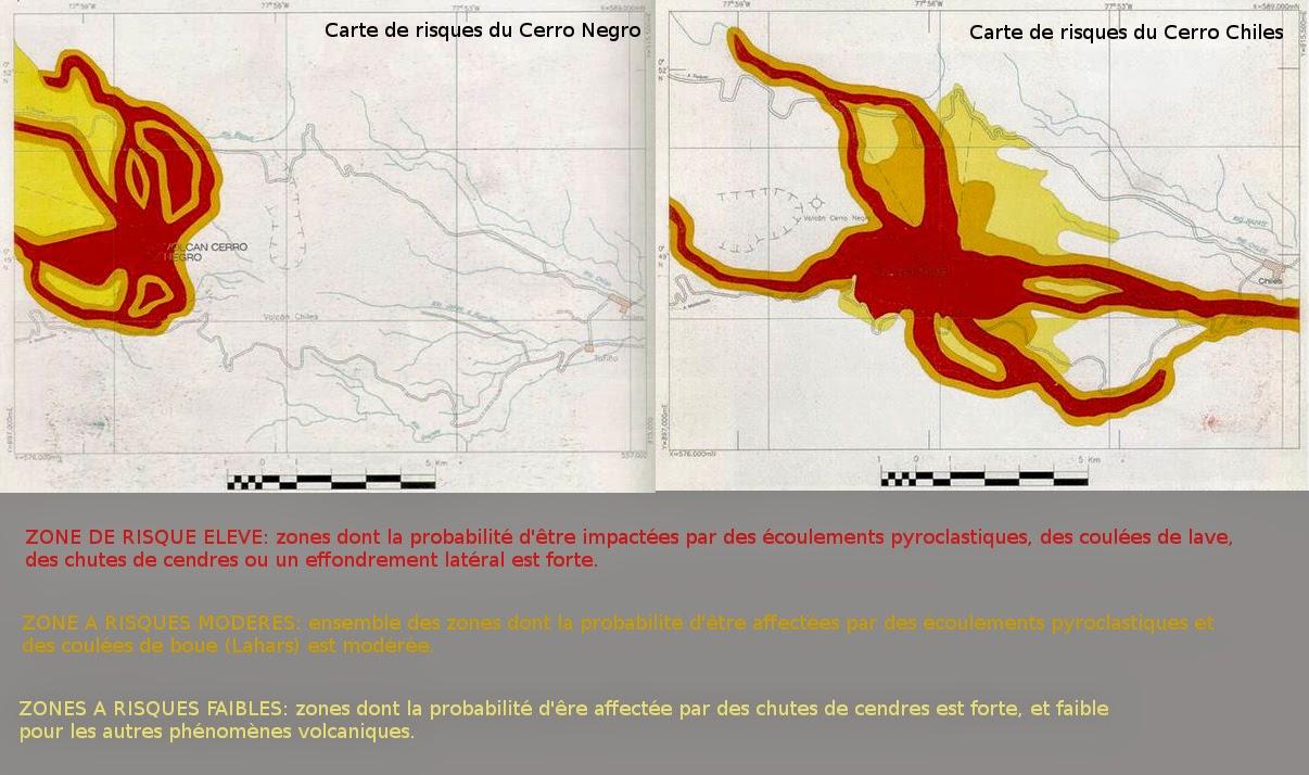 Les cartes de risques du volcan Cerro Negro de Mayasquer