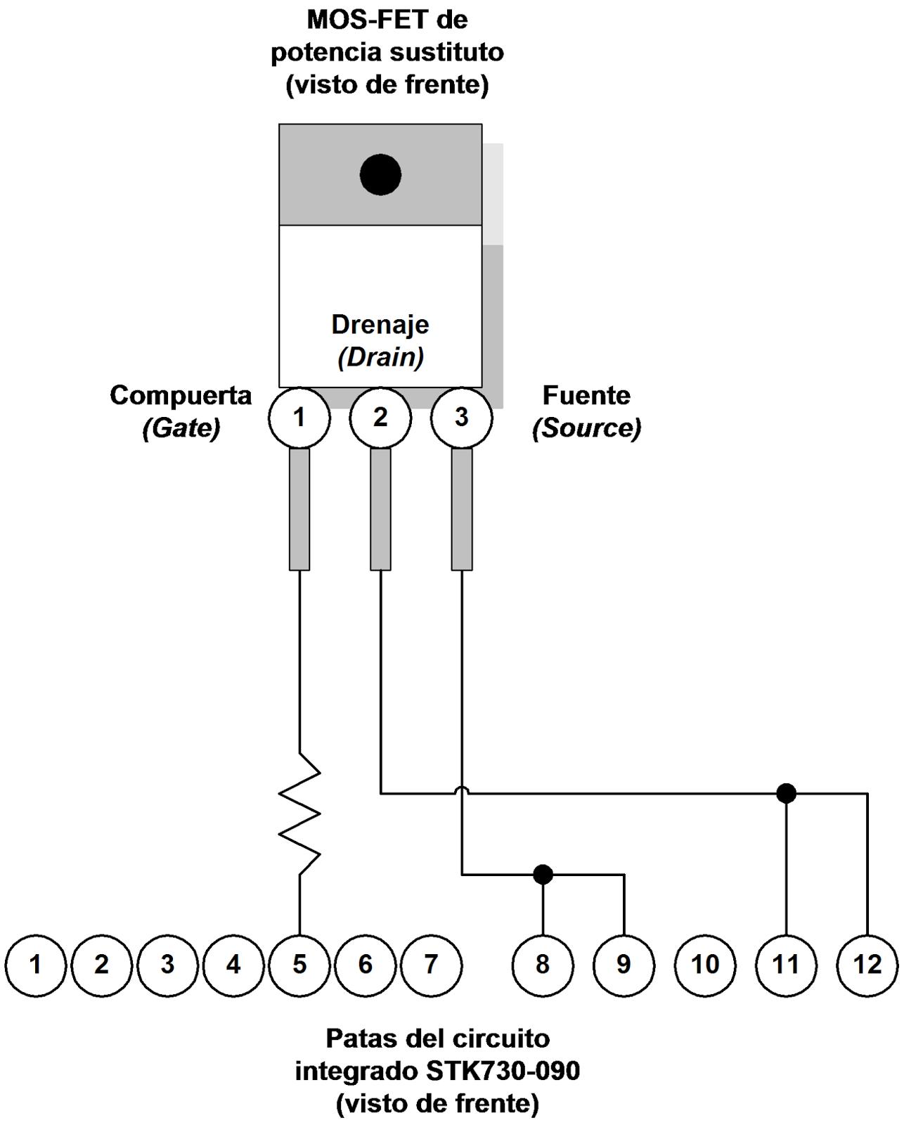 Esquema de conexión del MOS-FET sustituto en el circuito integrado STK730-090.